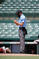 Umpire Kaleb Martin inspects a ball during a Gulf Coast League game between the GCL Red Sox and GCL Orioles on July 29, 2019 at Ed Smith Stadium in Sarasota, Florida.  GCL Red Sox defeated the GCL Pirates 9-1.  (Mike Janes/Four Seam Images)