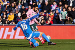 X. Etxeita of Getafe FC and Nabil Fekir of Real Betis Balompie during La Liga match between Getafe CF and Real Betis Balompie at Wanda Metropolitano Stadium in Madrid, Spain. January 26, 2020. (ALTERPHOTOS/A. Perez Meca)