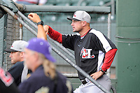 Manager Corey Ragsdale of the Hickory Crawdads in a game against the Greenville Drive on Friday, June 7, 2013, at Fluor Field at the West End in Greenville, South Carolina. Greenville won the resumption of this May 22 suspended game, 17-8. (Tom Priddy/Four Seam Images)