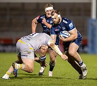 27th December 2020; AJ Bell Stadium, Salford, Lancashire, England; English Premiership Rugby, Sale Sharks versus Wasps; WillGriff John of Sale Sharks is tackled by Jeff Toomaga-Allen of Wasps
