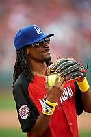 Rapper Snoop Dogg before the All-Star Legends and Celebrity Softball Game on July 12, 2015 at Great American Ball Park in Cincinnati, Ohio.  (Mike Janes/Four Seam Images)