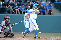 Pat Gallagher #27 of the UCLA Bruins bats against the Stanford Cardinal at Jackie Robinson Stadium on May 2, 2014 in Los Angeles, California. UCLA defeated Stanford, 7-2. (Larry Goren/Four Seam Images)
