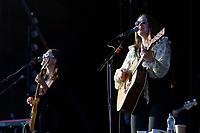 Pictured: (L-R) Jessica and Camilla Staveley-Taylor of the Staves at the Mountain stage. Sunday 22 August 2021<br /> Re: Green Man Festival near Crickhowell, Wales, UK.