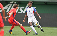 Portland, OR - Saturday August 12, 2017: Christopher Gloster during friendly match between the USMNT U17's and Chile u17's at Providence Park in Portland, OR.