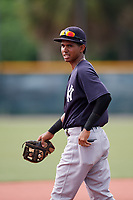 GCL Yankees East shortstop Borinquen Mendez (4) during the first game of a doubleheader against the GCL Pirates on July 31, 2018 at Pirate City Complex in Bradenton, Florida.  GCL Yankees East defeated GCL Pirates 2-0.  (Mike Janes/Four Seam Images)
