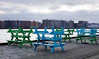 Nederland  Amsterdam  2020.  Het IJ. Gesloten horeca in Amsterdam Noord.   Foto : ANP/ HH / Berlinda van Dam