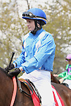 08 April 2011.  Rosie Napravnik aboard Langfuhr Me in the third race.