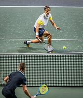 Rotterdam, The Netherlands, 28 Februari 2021, ABNAMRO World Tennis Tournament, Ahoy, Qualyfying match:  Marton Fucsovics (HUN) vs  Pierre-Huges Herbert (FRA) (back)<br /> Photo: www.tennisimages.com/henkkoster