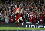 Wales wing George North races away to score under the posts.<br /> RBS 6 Nations 2014<br /> Wales v Scotland<br /> Millennium Stadium<br /> <br /> 15.03.14<br /> <br /> ©Steve Pope-SPORTINGWALES