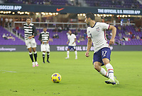 ORLANDO CITY, FL - JANUARY 31: Sebastian Lletget #17 of the United States turns with the ball during a game between Trinidad and Tobago and USMNT at Exploria stadium on January 31, 2021 in Orlando City, Florida.