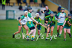 Kerry's Norette Casey about to block the efforts of Meaths Ellen Bourke in the Camogie Intermediate Championship