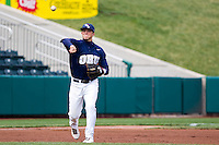 T.J. Bennett (6) of the Oral Roberts Golden Eagles throws the first during a game against the /m/ on March 27, 2011 at Hammons Field in Springfield, Missouri.  Photo By David Welker/Four Seam Images