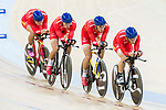 The team of China with Fan Yang, Qin Chenlu, Xue Sai Fei and Yuan Zhong of China competes in the Men's Team Pursuit - Qualifying match as part of the Men's Team Pursuit - Qualifying match as part of the 2017 UCI Track Cycling World Championships on 12 April 2017, in Hong Kong Velodrome, Hong Kong, China. Photo by Victor Fraile / Power Sport Images