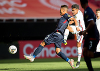 ZAPOPAN, MEXICO - MARCH 21: Jesus Ferreira #9 of the United States takes a shot during a game between Dominican Republic and USMNT U-23 at Estadio Akron on March 21, 2021 in Zapopan, Mexico.