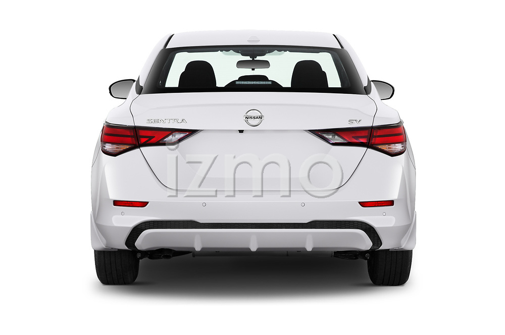 Straight rear view of 2020 Nissan Sentra SV 4 Door Sedan Rear View  stock images