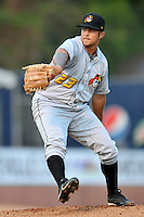 West Virginia pitcher Josh Poytress #31 delivers a pitch during a game between the West Virginia Power and the Asheville Tourists at McCormick Field, Asheville, North Carolina April 10, 2012. The Tourists won 6-5  (Tony Farlow/Four Seam Images)..