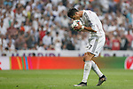 Real Madrid´s Cristiano Ronaldo kisses the ball before a penalty kick during the Champions League semi final soccer match between Real Madrid and Juventus at Santiago Bernabeu stadium in Madrid, Spain. May 13, 2015. (ALTERPHOTOS/Victor Blanco)