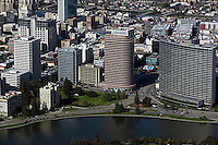 aerial photograph Lake Merritt waterfront high rise buildings including Kaiser Center, Oakland, California