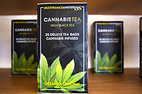 LISBON, PORTUGAL - APRIL 20:  CBD tea inside a CBD shop in Lisbon, on April 20, 2021. First cannabis-based substance for medicinal purposes approved, The National Authority for Medicines and Health Products (Infarmed) has approved the first substance based on the cannabis plant for medicinal purposes in Portugal. (Photo by Luis Boza/VIEWpress)
