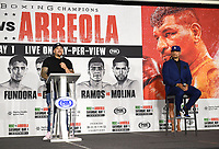 LOS ANGELES, CA - APRIL 28: Andy Ruiz Jr. (L) and Chris Arreola attend the press conference for the Andy Ruiz Jr. vs Chris Arreola Fox Sports PBC Pay-Per-View in Los Angeles, California on April 28, 2021. The PPV fight is on May 1, 2021 at Dignity Health Sports Park in Carson, CA. (Photo by Frank Micelotta/Fox Sports/PictureGroup)
