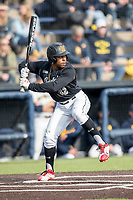 Maryland Terrapins outfielder Marty Costes (42) at bat against the Michigan Wolverines on April 13, 2018 in a Big Ten NCAA baseball game at Ray Fisher Stadium in Ann Arbor, Michigan. Michigan defeated Maryland 10-4. (Andrew Woolley/Four Seam Images)