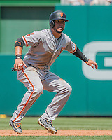 7 August 2016: San Francisco Giants right fielder Gregor Blanco in action against the Washington Nationals at Nationals Park in Washington, DC. The Nationals shut out the Giants 1-0 to take the rubber match of their 3-game series. Mandatory Credit: Ed Wolfstein Photo *** RAW (NEF) Image File Available ***
