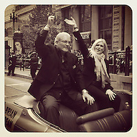 SAN FRANCISCO - OCTOBER 31: Instagram of Brian Sabean and his wife during the San Francisco Giants World Series Parade on Market Street on October 31, 2012 in San Francisco, California. Photo by Brad Mangin