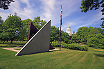 The Maine Vietman Veteran's Memorial and the State House, Augusta, Maine, USA