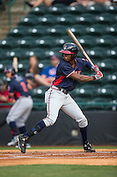Justin Ellison (5) of the Rome Braves at bat against the Hickory Crawdads at L.P. Frans Stadium on May 12, 2016 in Hickory, North Carolina.  The Braves defeated the Crawdads 3-0.  (Brian Westerholt/Four Seam Images)
