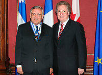 May 2003, Montreal, Quebec, Canada<br /> <br /> Jean-Pierre Raffarin , Prime Minister of France (L) with Jean Charest, new Premier Quebec (R), in Quebec City during  Raffarin visit to Canada in May 2003<br /> <br /> Mandatory Credit: Photo byRaffi Kirdi- Images Distribution. (©) Copyright 2003 by Raffi Kirdi<br /> <br /> NOTE : FRANCE OUT / More photos available on request