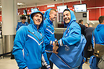 Spartak Trnava v St Johnstone...06.08.14  Europa League Qualifier 3rd Round<br /> Michael O'Halloran, Brian Easton and Gary Miller arrives at Edinburgh Airport to check in for the flight to Bratislava.<br /> Picture by Graeme Hart.<br /> Copyright Perthshire Picture Agency<br /> Tel: 01738 623350  Mobile: 07990 594431