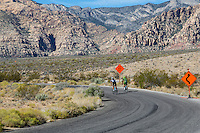 Red Rock Canyon, Nevada.  Cyclists on the 17-mile Scenic Drive.