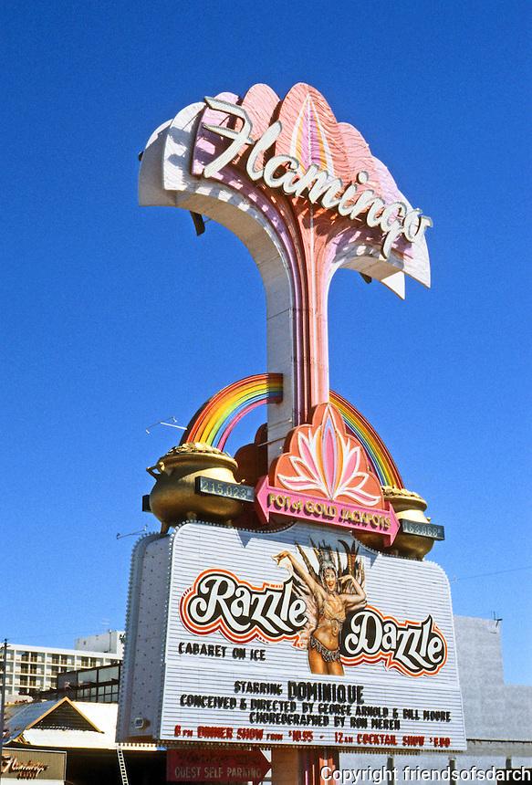 Las Vegas: Flamingo Hilton sign. Starring Dominique. Photo '79.