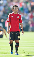 PASADENA, CA – June 25, 2011: Mexico player Andres Guardado (18) before the Gold Cup Final match between USA and Mexico at the Rose Bowl in Pasadena, California. Final score USA 2 and Mexico 4.
