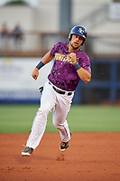 Charlotte Stone Crabs first baseman Nathaniel Lowe (36) runs the bases during a game against the Palm Beach Cardinals on April 21, 2018 at Charlotte Sports Park in Port Charlotte, Florida.  Charlotte defeated Palm Beach 5-2.  (Mike Janes/Four Seam Images)