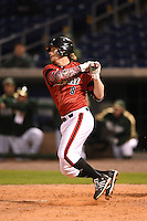 Louisville Cardinals first baseman Danny Rosenbaum (8) at bat during a game against the USF Bulls on February 14, 2015 at Bright House Field in Clearwater, Florida.  Louisville defeated USF 7-3.  (Mike Janes/Four Seam Images)