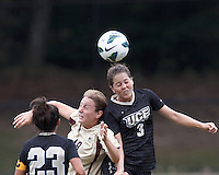Boston College midfielder Patrice Vettori (18) and University of Central Florida forward Tishia Jewell (3) battle for head ball. After two overtime periods, Boston College tied University of Central Florida, 2-2, at Newton Campus Field, September 9, 2012.