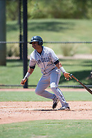 AZL Padres 2 pinch hitter Elvis Sabala (13) follows through on his swing during an Arizona League game against the AZL Dodgers at Camelback Ranch on July 4, 2018 in Glendale, Arizona. The AZL Dodgers defeated the AZL Padres 2 9-8. (Zachary Lucy/Four Seam Images)