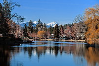 The Deschutes River and Drake Park during the winter in Bend, Oregon.