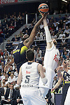 Real Madrid's Andres Nocioni (r) and Fenerbahce Istambul's Ekpe Udoh during Euroleague Quarter-Finals 3rd match. April 19,2016. (ALTERPHOTOS/Acero)