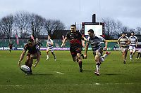 Ashton Hewitt of Dragons scores his sides third try of the match during the European Challenge Cup match between Dragons and Bordeaux Begles at Rodney Parade, Newport, Wales, UK. 20 January 2018