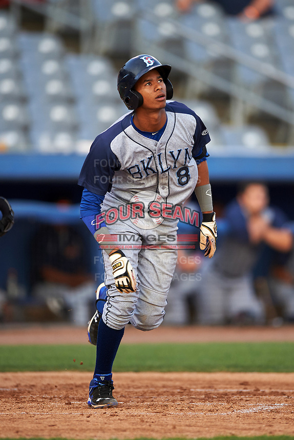 Brooklyn Cyclones shortstop Alfredo Reyes (8) runs to first during the first game of a doubleheader against the Connecticut Tigers on September 2, 2015 at Senator Thomas J. Dodd Memorial Stadium in Norwich, Connecticut.  Brooklyn defeated Connecticut 7-1.  (Mike Janes/Four Seam Images)