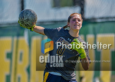 1 September 2019: Merrimack College Warrior Goalkeeper Megan Langlois, a Junior from Methuen, MA, warms up prior to facing the University of Vermont Catamounts in Game 3 of the TD Bank Women's Soccer Classic at Virtue Field in Burlington, Vermont. The Lady Warriors rallied in the second half to defeat the Catamounts 2-1. Mandatory Credit: Ed Wolfstein Photo *** RAW (NEF) Image File Available ***