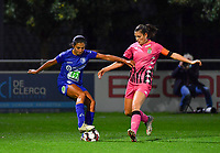 Jolet Lommen (9 Gent) pictured in a duel with Noemie Fourdin (11 Charleroi) during a female soccer game between  AA Gent Ladies and Sporting Charleroi Feminin on the fifth matchday of the 2020 - 2021 season of Belgian Scooore Womens Super League , friday 16 th of October 2020  in Oostakker , Belgium . PHOTO SPORTPIX.BE | SPP | DAVID CATRY