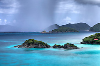 Trunk Cay with a rainstorm approaching<br /> St. John<br /> Virgin Islands National Park