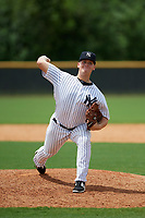 GCL Yankees East relief pitcher Shawn Semple (18) delivers a pitch during the second game of a doubleheader against the GCL Blue Jays on July 24, 2017 at the Yankees Minor League Complex in Tampa, Florida.  GCL Yankees East defeated the GCL Blue Jays 6-3.  (Mike Janes/Four Seam Images)