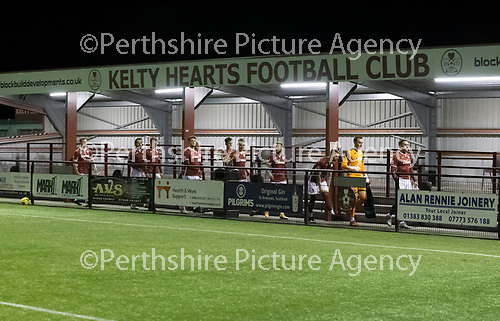 Kelty Hearts v St Johnstone…07.10.20   New Central Park  Betfred Cup<br />The Kelty players make their way out for kick off<br />Picture by Graeme Hart.<br />Copyright Perthshire Picture Agency<br />Tel: 01738 623350  Mobile: 07990 594431
