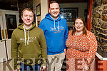 Ben Slimm, Joe Horgan and Cáoimhe McNeill enjoying the evening in the Brogue Inn on Friday.