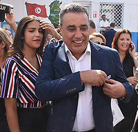 Mehdi Jomaa, a candidate for Tunisia's presidential elections, arrives with his wife Hala to vote at a polling station in the capital Tunis on September 15, 2019. - Rarely has the outcome of an election been so uncertain in Tunisia, the cradle and partial success story of the Arab Spring, as some seven million voters head to the polls today to choose from a crowded field.<br /> <br /> PHOTO : Agence Quebec Presse -  JDIDI_WASSIM