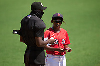 FCL Red Sox Bianca Smith (73) during the lineup exchange with umpire Felix Neon before a game against the FCL Twins on August 7, 2021 at JetBlue Park at Fenway South in Fort Myers, Florida.  (Mike Janes/Four Seam Images)
